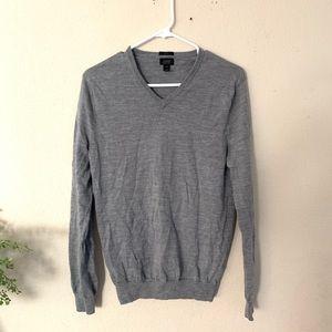 J crew : grey merino wool v neck sweater size med